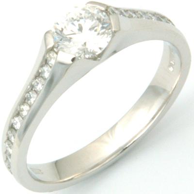 Platinum Diamond Engagement Ring with Diamond Channel Set Shoulders 3.jpg