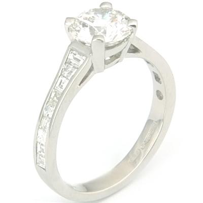 Platinum Tiffany Style Diamond Engagement Ring with Diamond Set Shoulders 1.jpg