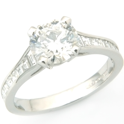 Platinum Tiffany Style Diamond Engagement Ring with Diamond Set Shoulders 3.jpg