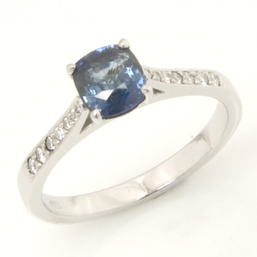 Platinum Cushion Cut Sapphire Engagement Ring.jpg