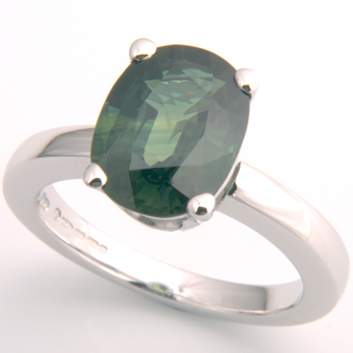 18ct White Gold Green Sapphire Engagement Ring.jpg