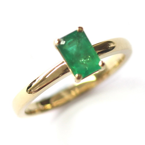18ct Yellow Gold Solitaire Emerald Engagement Ring.jpg
