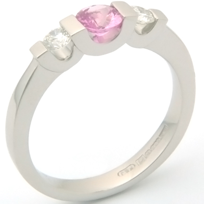 Palladium Pink Sapphire and Diamond Trilogy Engagement Ring 2.jpg