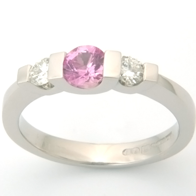 Palladium Pink Sapphire and Diamond Trilogy Engagement Ring 1.jpg