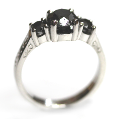 Palladium Black Diamond Trilogy Engagement Ring 4.jpg