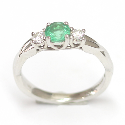 Platinum Emerald and Diamond Trilogy Engagement Ring 2.jpg