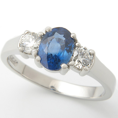 Platinum Oval Sapphire and Diamond Trilogy Engagement Ring  1.jpg