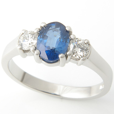Platinum Oval Sapphire and Diamond Trilogy Engagement Ring 4.jpg