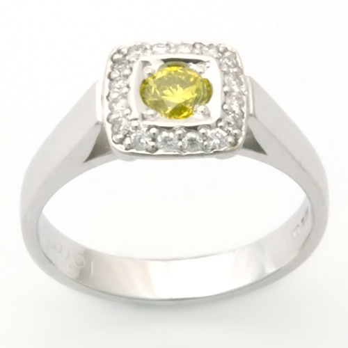 Palladium Yellow and White Diamond Engagement Ring.jpg
