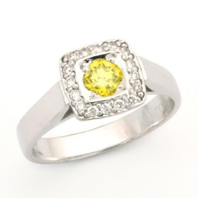 Palladium Yellow and White Diamond Engagement Ring 3.jpg