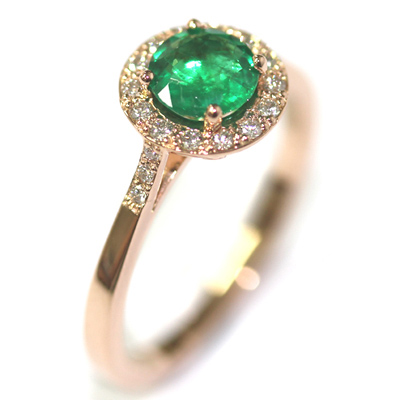 18ct Rose Gold Emerald and Diamond Halo Engagement Ring 1.jpg