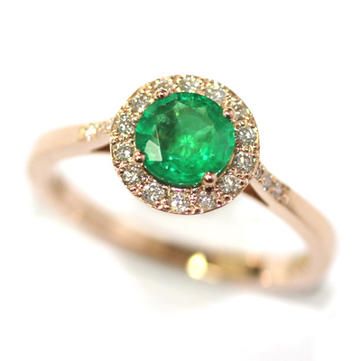 18ct Rose Gold Emerald and Diamond Halo Engagement Ring 2.jpg