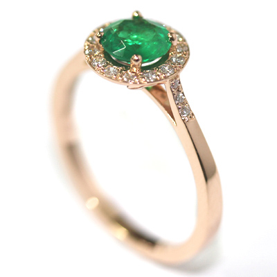 18ct Rose Gold Emerald and Diamond Halo Engagement Ring 3.jpg