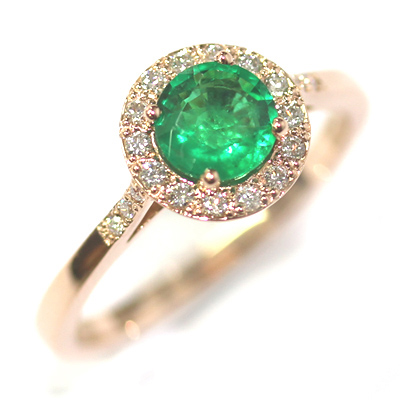 18ct Rose Gold Emerald and Diamond Halo Engagement Ring 4.jpg