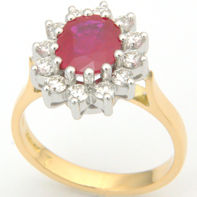 18ct Yellow Gold Ruby and Diamond Cluster Engagement Ring 2.jpg