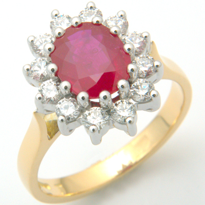 18ct Yellow Gold Ruby and Diamond Cluster Engagement Ring 1.jpg