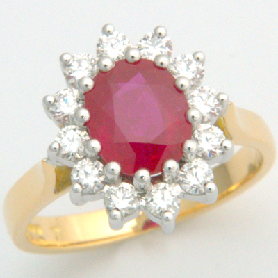 18ct Yellow Gold Ruby and Diamond Cluster Engagement Ring 3.jpg