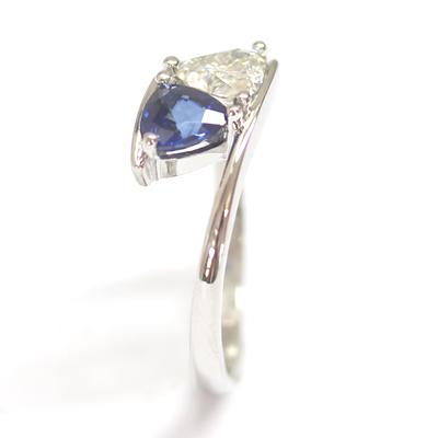 Platinum Trillion Cut Moissonite & Sapphire Engagement Ring 1.jpg