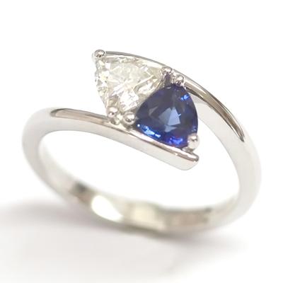 Platinum Trillion Cut Moissonite & Sapphire Engagement Ring 2.jpg