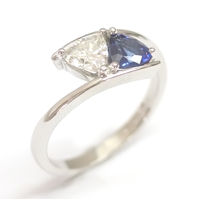 Platinum Trillion Cut Moissonite & Sapphire Engagement Ring 3.jpg