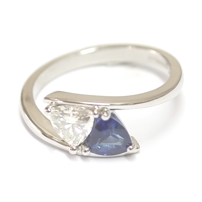 Platinum Trillion Cut Moissonite & Sapphire Engagement Ring 4.jpg