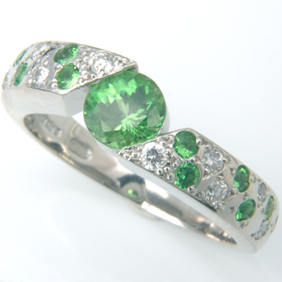 Platinum Green Garnet and Diamond Engagement Ring 1.jpg