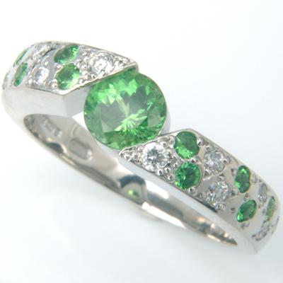 Platinum Green Garnet and Diamond Engagement Ring 1.jpg
