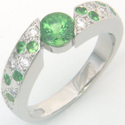 Platinum Green Garnet and Diamond Engagement Ring 2.jpg