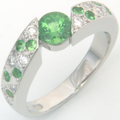 Platinum Green Garnet and Diamond Engagement Ring 2.jpg