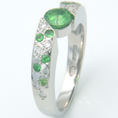 Platinum Green Garnet and Diamond Engagement Ring 3.jpg