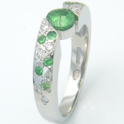 Platinum Green Garnet and Diamond Engagement Ring 3.jpg