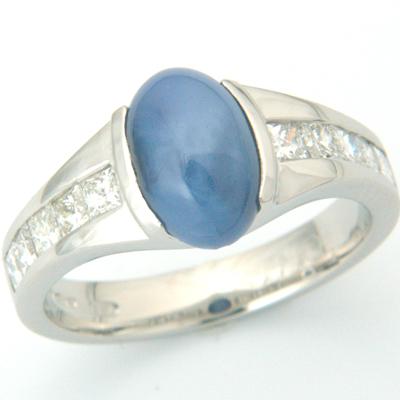 Platinum Star Sapphire and Diamond Engagement Ring 1.jpg