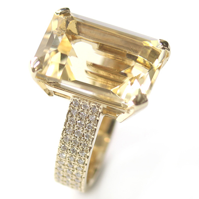 9ct Yellow Gold Emerald Cut Citrine and Diamond Engagement Ring 1.jpg