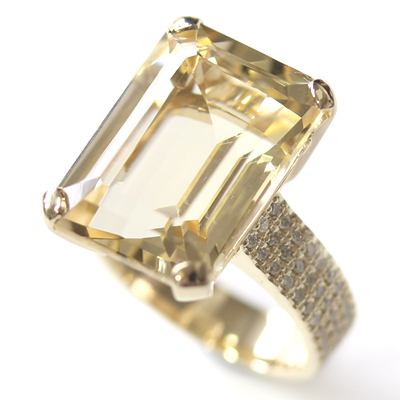 9ct Yellow Gold Emerald Cut Citrine and Diamond Engagement Ring 2.jpg