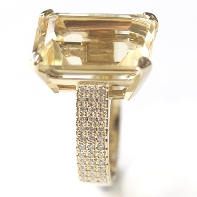 9ct Yellow Gold Emerald Cut Citrine and Diamond Engagement Ring 3.jpg