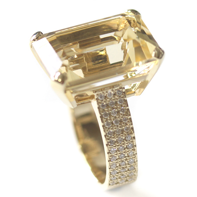 9ct Yellow Gold Emerald Cut Citrine and Diamond Engagement Ring 4.jpg