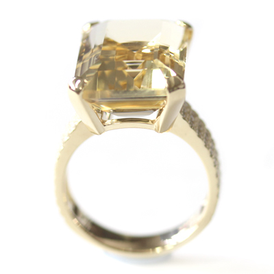 9ct Yellow Gold Emerald Cut Citrine and Diamond Engagement Ring 5.jpg