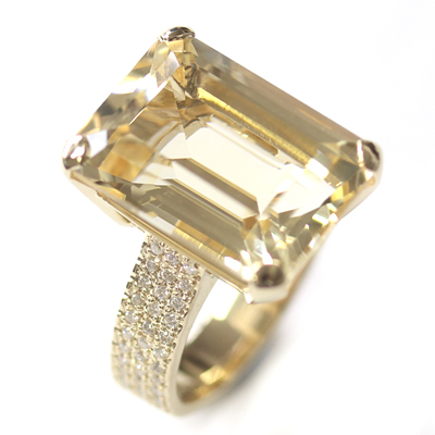 9ct Yellow Gold Emerald Cut Citrine and Diamond Engagement Ring 6.jpg