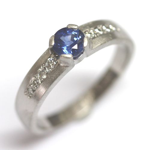 Palladium Sapphire and Diamond Engagement Ring with a Matte Finish 2.jpg