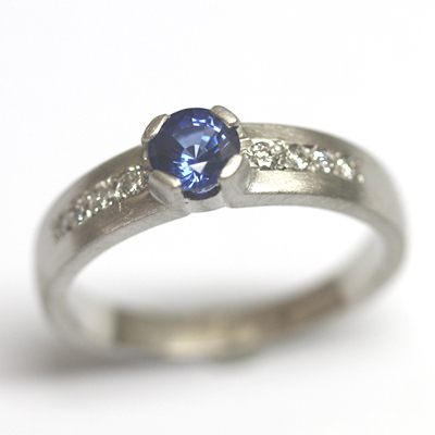 Palladium Sapphire and Diamond Engagement Ring with a Matte Finish 1.jpg