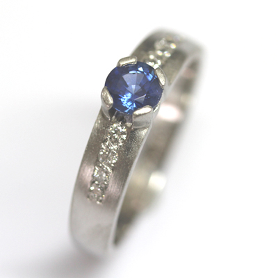 Palladium Sapphire and Diamond Engagement Ring with a Matte Finish 3.jpg