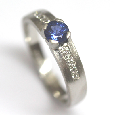 Palladium Sapphire and Diamond Engagement Ring with a Matte Finish 4.jpg