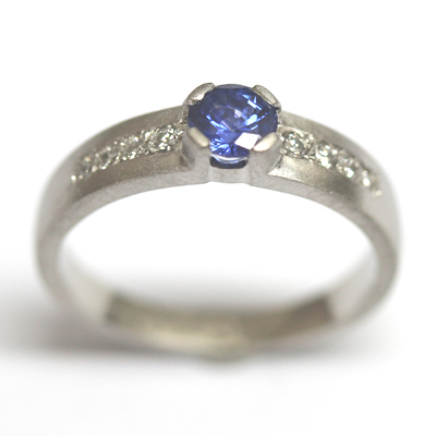 Palladium Sapphire and Diamond Engagement Ring with a Matte Finish 5.jpg