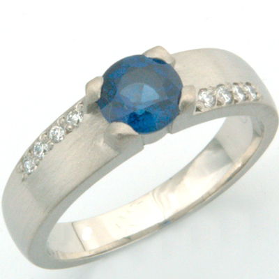 Brushed Palladium Sapphire and Diamond Engagement Ring 2.jpg