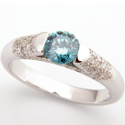 Platinum Blue Diamond and Pave Set Diamond Engagement Ring 1.jpg