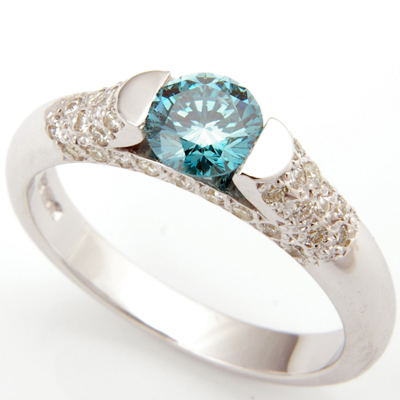 Platinum Blue Diamond and Pave Set Diamond Engagement Ring 2.jpg