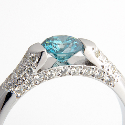 Platinum Blue Diamond and Pave Set Diamond Engagement Ring 3.jpg