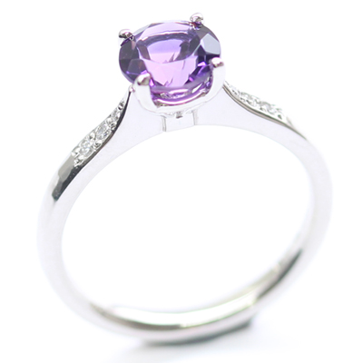 Platinum Amethyst and Diamond Engagement Ring 6.jpg