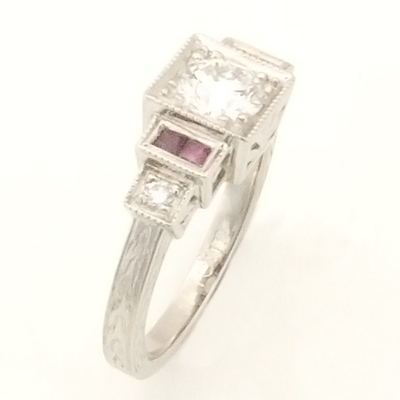 Platinum Art Deco Diamond and Ruby Engagement Ring 2.jpg