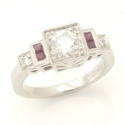 Platinum Art Deco Diamond and Ruby Engagement Ring 1.jpg